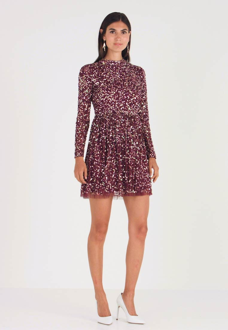 Maya Deluxe - ALL OVER EMBELLISHED MINI DRESS WITH OPEN BACK - Juhlamekko - berry multi - 1