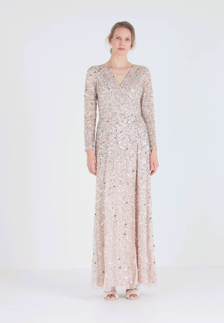 Maya Deluxe - ALL OVER HEAVILY EMBELLISHED WRAP LONG SLEEVE MAXI DRESS - Robe de cocktail - nude - 1