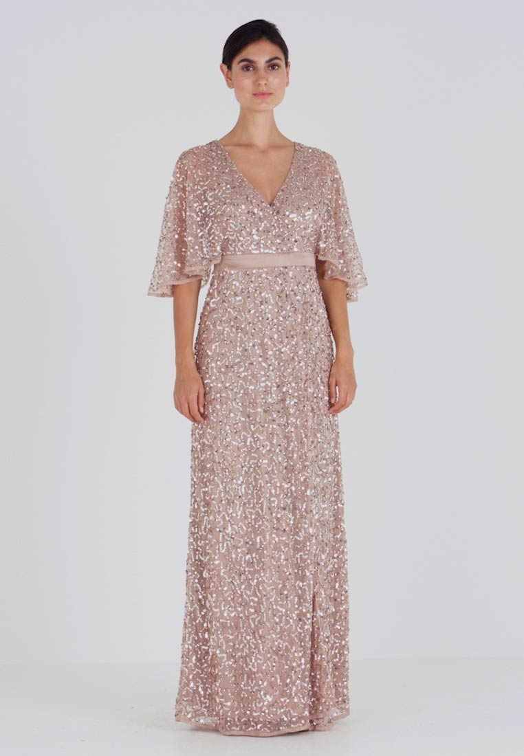 Maya Deluxe - KIMONO SLEEVE ALL OVER DELICATE SEQUIN MAXI DRESS - Robe de cocktail - taupe blush - 1