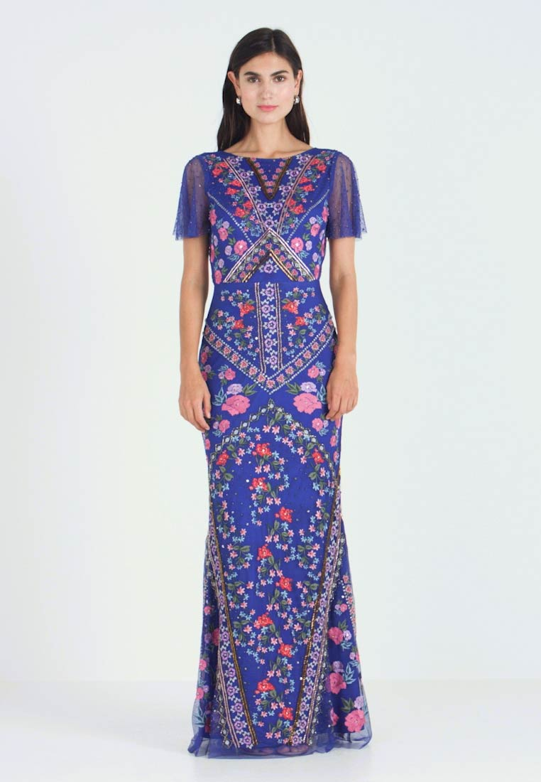 Maya Deluxe - ALL OVER EMBROIDERED FLORAL MAXI DRESS - Ballkjole - cobalt/multi - 1