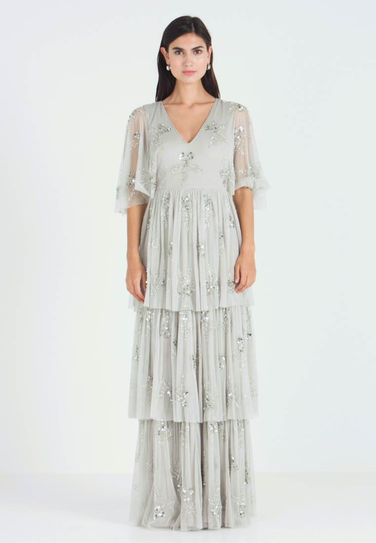Maya Deluxe - EMBELLISHED SLEEVE TIERED MAXI DRESS - Gallakjole - soft grey - 1