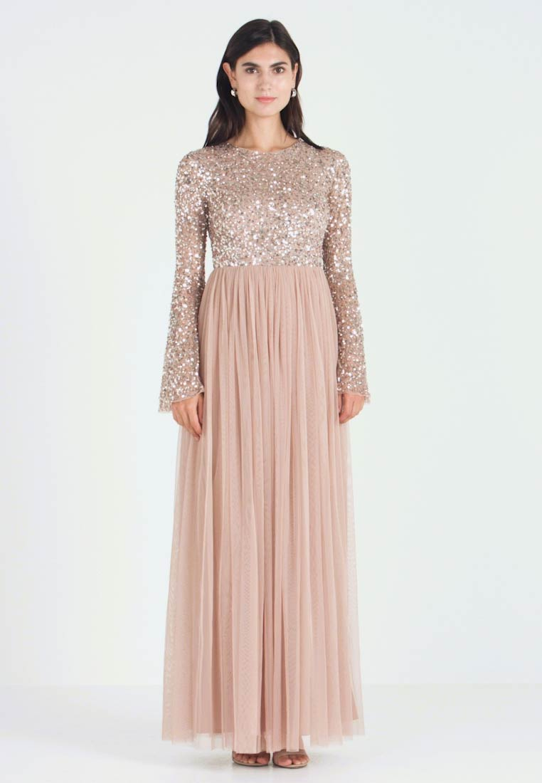 Maya Deluxe - ROUND NECK DELICATE SEQUIN BELL SLEEVE MAXI DRESS WITH SKI - Suknia balowa - taupe blush - 1