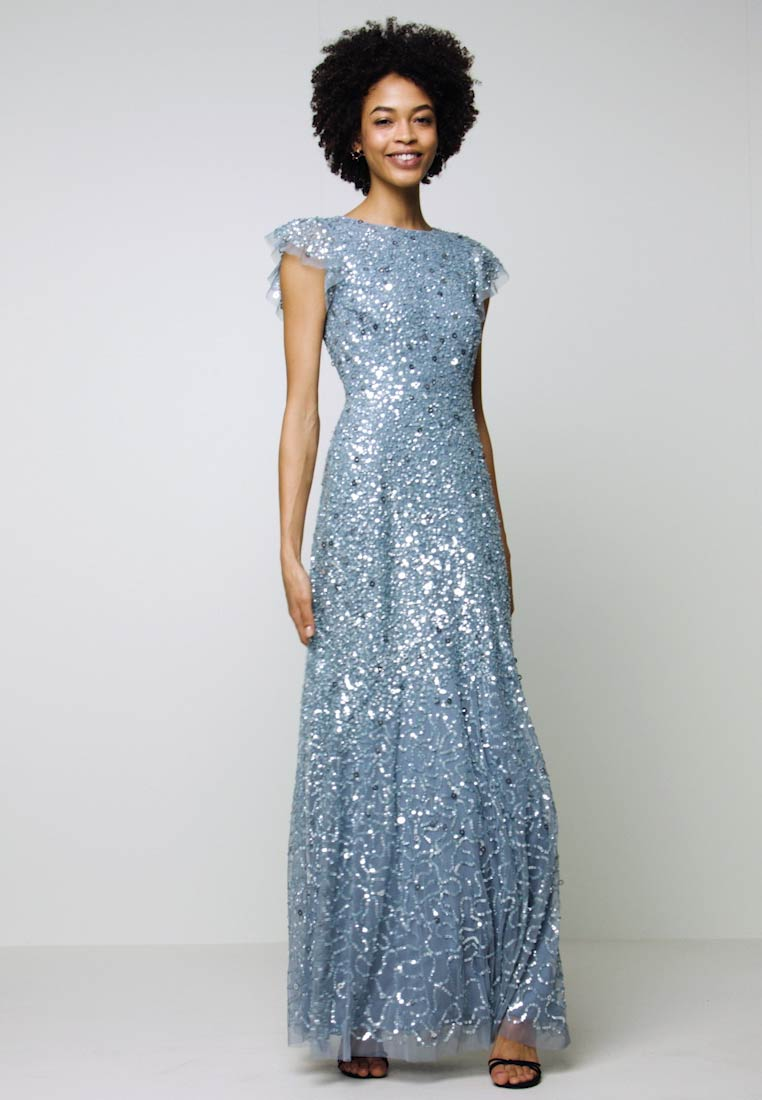 Maya Deluxe - DIP BACK ALL OVER SEQUIN MAXI DRESS - Iltapuku - dusty blue - 1