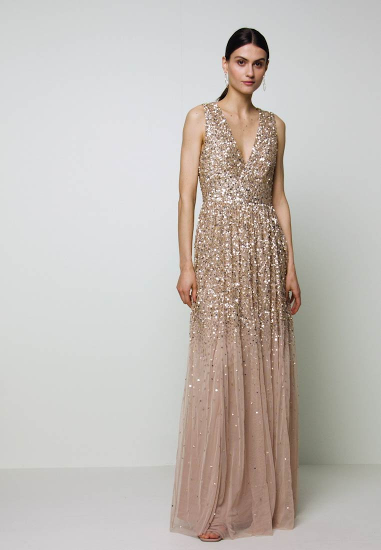 Maya Deluxe - EMBELLISHED NECK MAXI DRESS - Iltapuku - gold - 1