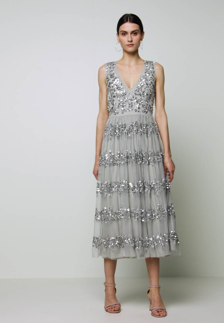 Maya Deluxe - PANELLED EMBELLISHED MIDI DRESS - Occasion wear - soft grey - 1