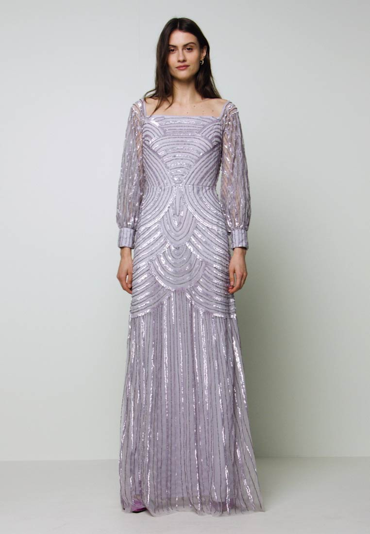 Maya Deluxe - OFF SHOULDER LONG SLEEVE MAXI DRESS WITH EMBELLISHMENT - Ballkjole - soft lilac - 1