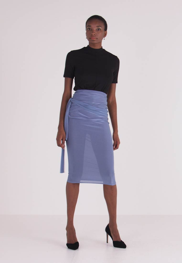Missguided Tall - SLINKY KNOT FRONT SKIRT - Jupe crayon - blue - 1