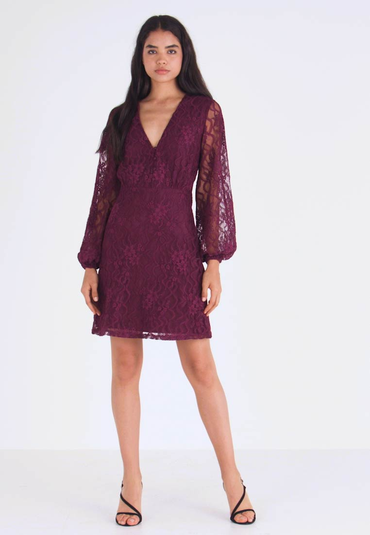 Missguided Tall - PLUNGE BUTTON FLARE DRESS - Juhlamekko - plum - 1