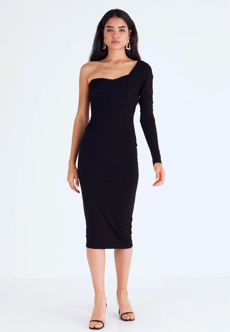 Missguided Tall - ONE SHOULDER STRUCTURED BODYCON MIDI DRESS - Žerzejové šaty - black - 1