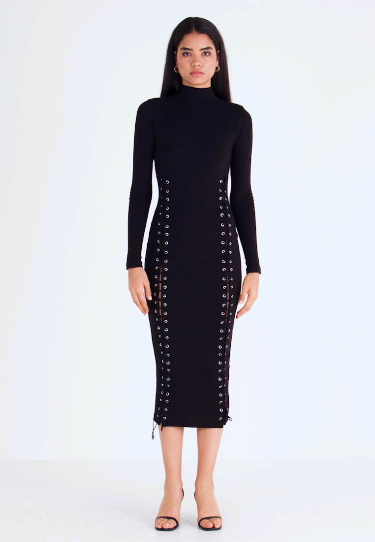 Missguided Tall - HIGH NECK EYELET MIDAXI DRESS - Jerseykjole - black - 1