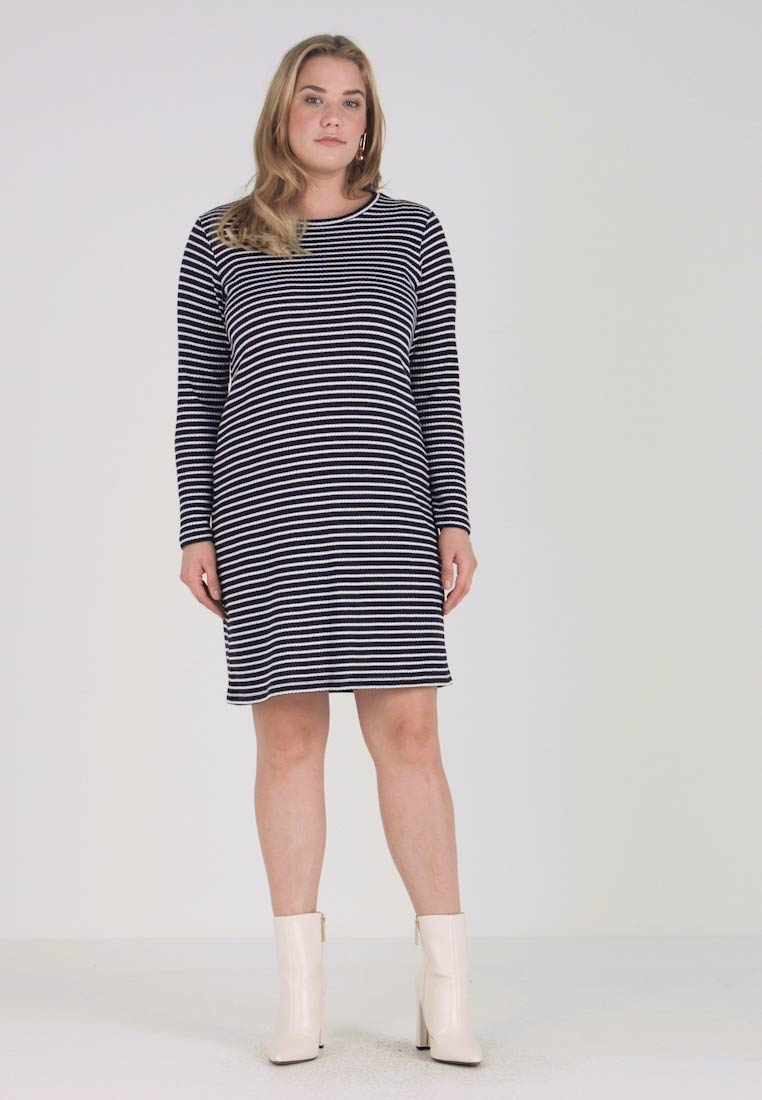 MICHAEL Michael Kors - PLUS STRIPED DRESS - Pletené šaty - true navy/white - 1