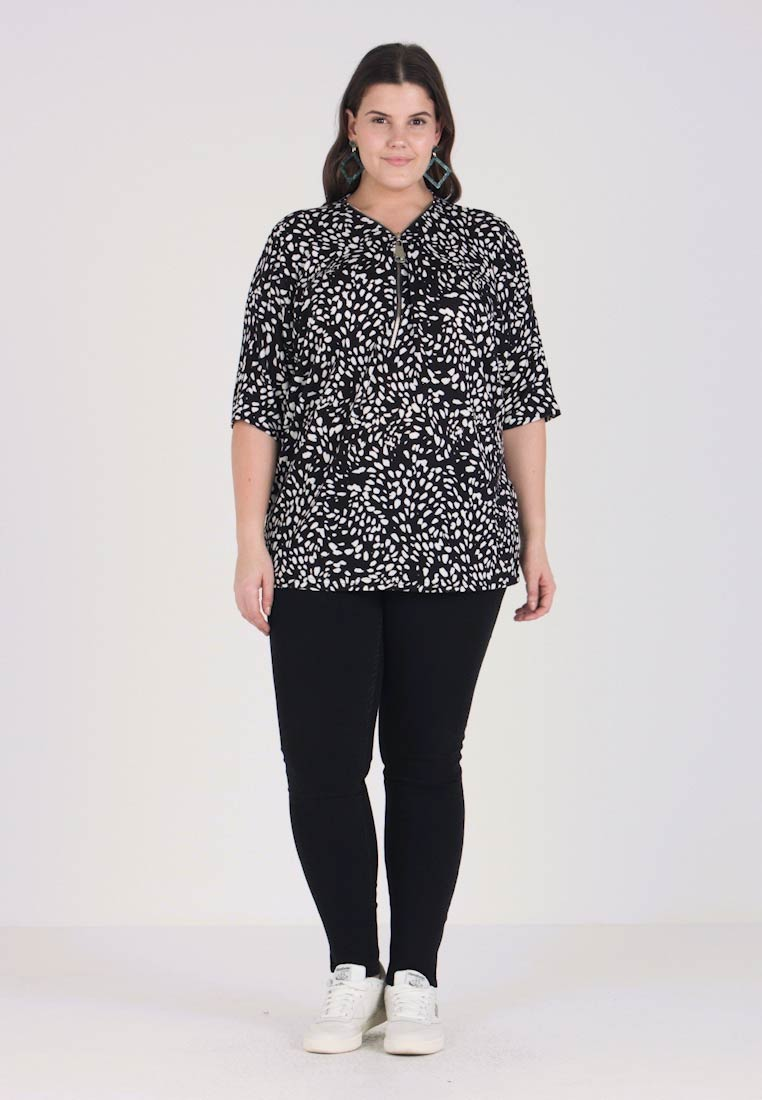 New Look Curves - SPOT ZIP FRONT - T-shirt con stampa - black - 1