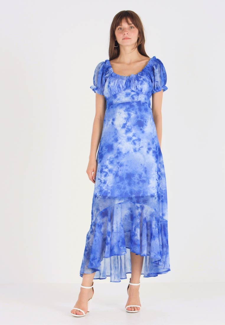 NA-KD - TIE DYE PUFF SLEEVE DRESS - Maxi dress - blue - 1