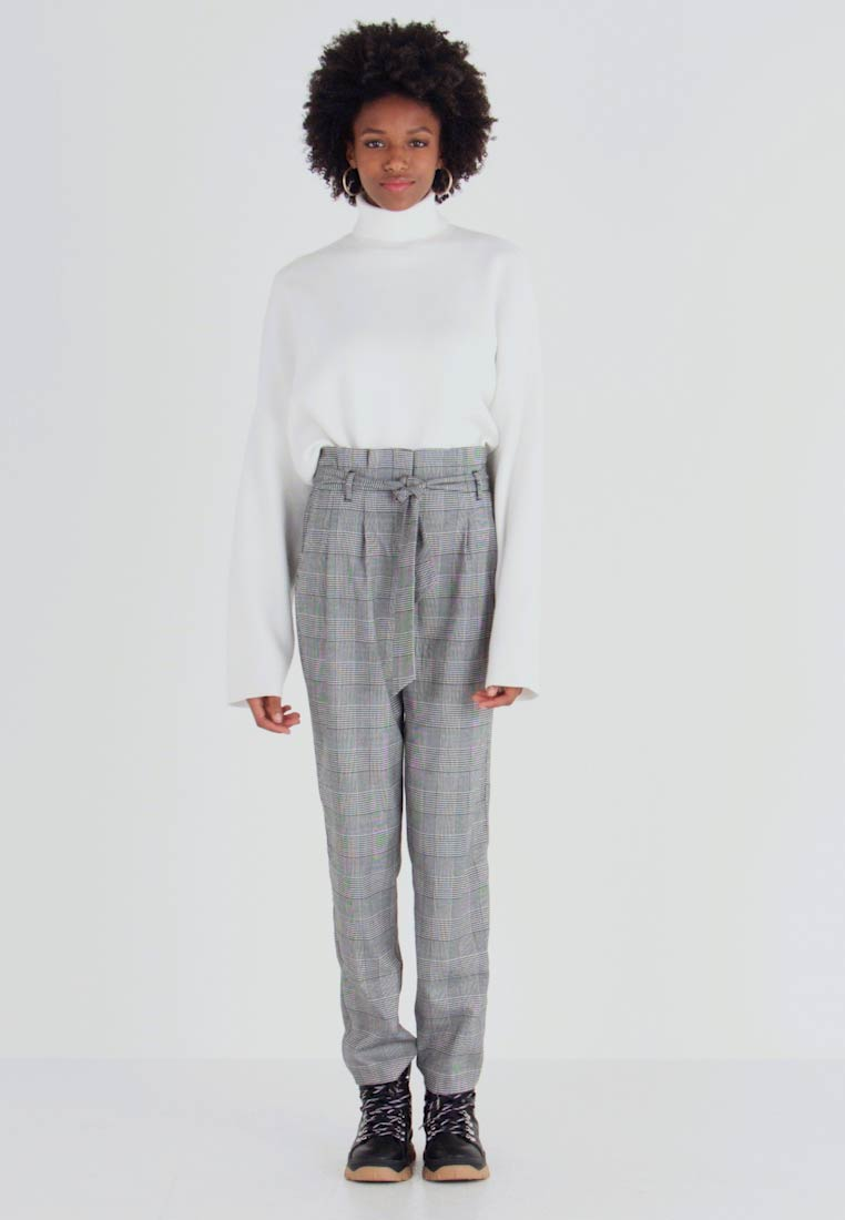 New Look Tall - POW CHECK TROUSER - Trousers - black - 1