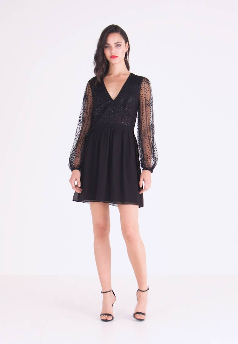 Nly by Nelly - RITZY GLITTER SKATER DRESS - Cocktailklänning - black - 1