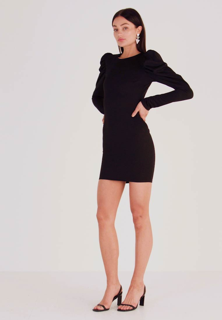 Nly by Nelly - OPEN BACK PUFF DRESS - Cocktailkjole - black - 1