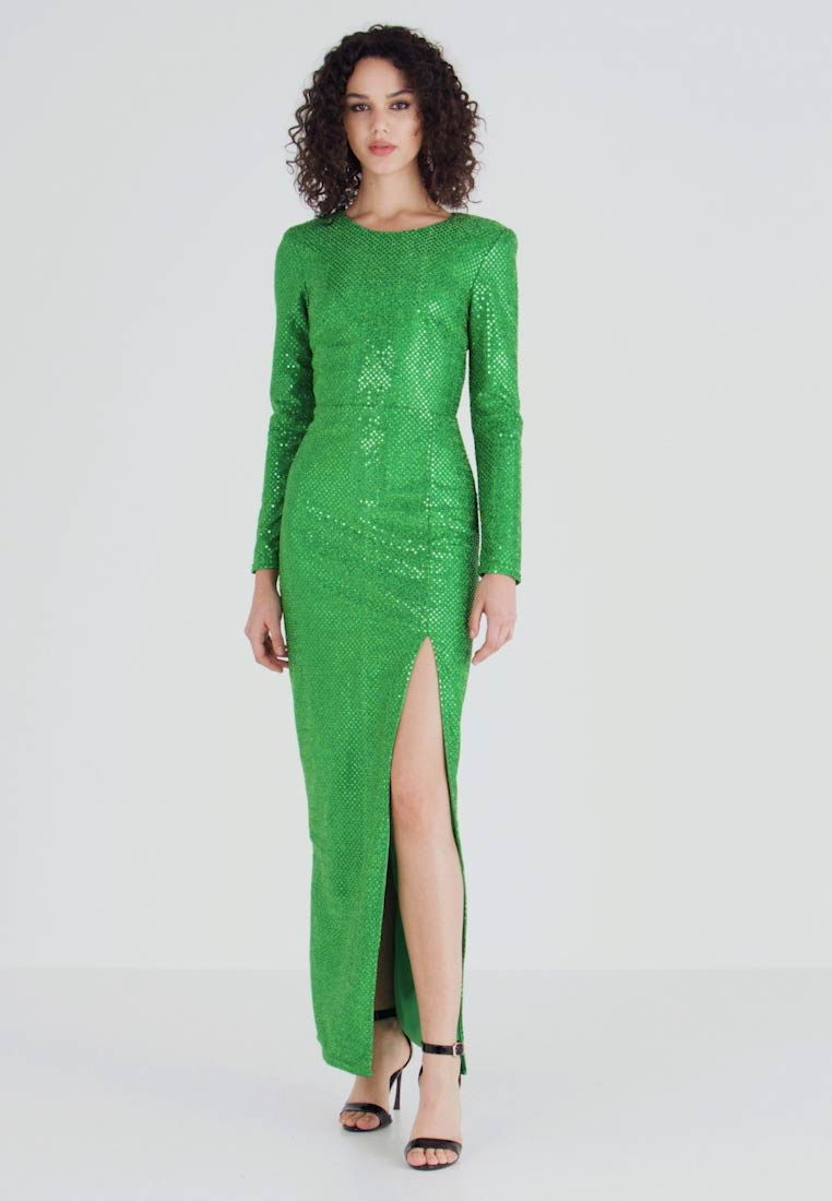 Nly by Nelly - SPARKLING SLIT GOWN - Vestido de fiesta - green - 1