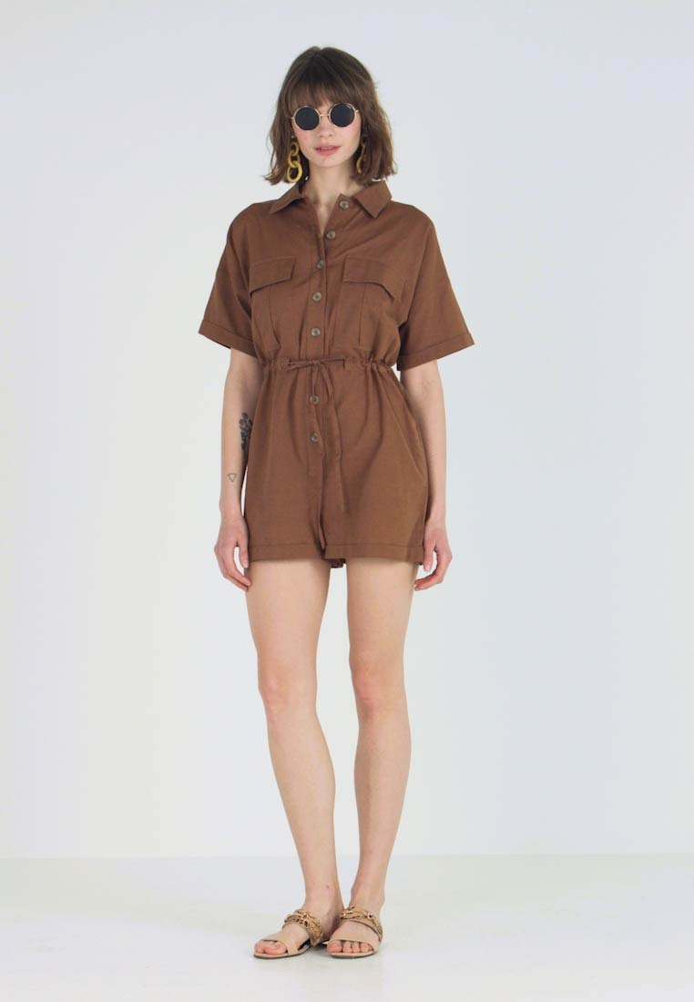 Nly by Nelly - WORKWEAR PLAYSUIT - Combinaison - brown - 1