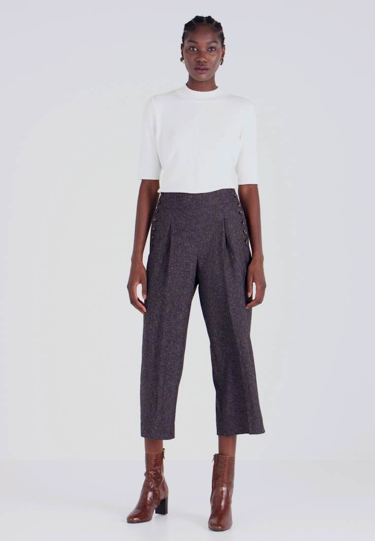 Pedro del Hierro - CULOTTE WITH BUTTON - Broek - dark grey - 1