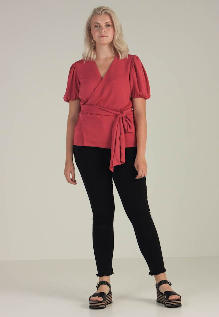 Second Script Curve - CHARLI PUFF SLEEVE WRAP - Bluser - red - 1
