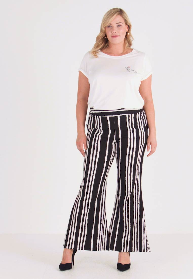 Simply Be - STATEMENT WIDE PRINT - Bukse - black/white - 1