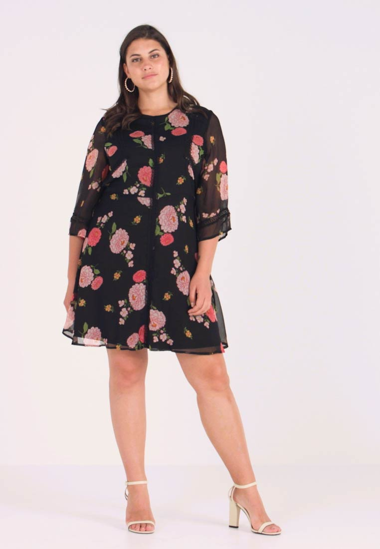 Simply Be - FLORAL SKATER DRESS - Day dress - black - 1