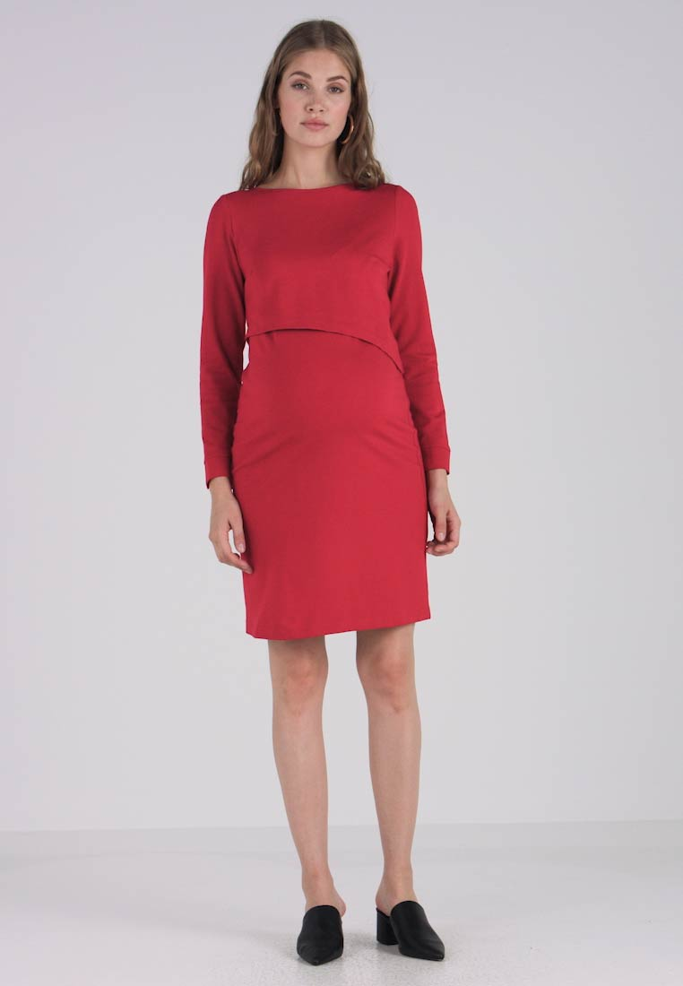 Slacks & Co. - ASSYMETRIC LAYER DRESS - Žerzejové šaty - red - 1
