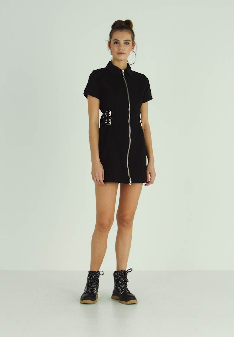 The Ragged Priest - DRILL FITTED  DRESS WITH BUCKLE EYELET DETAIL - Vestido vaquero - black - 1