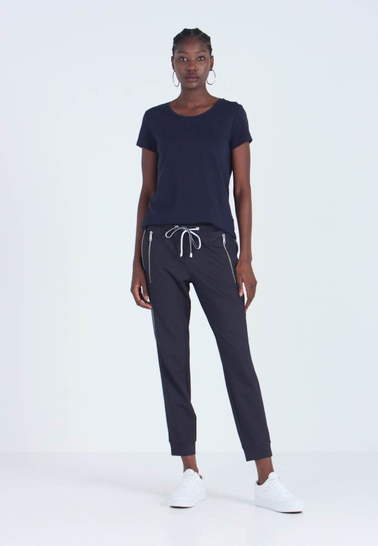 TOM TAILOR - LOOSE FIT PANTS WITH ZIPS - Trousers - navy blue - 1
