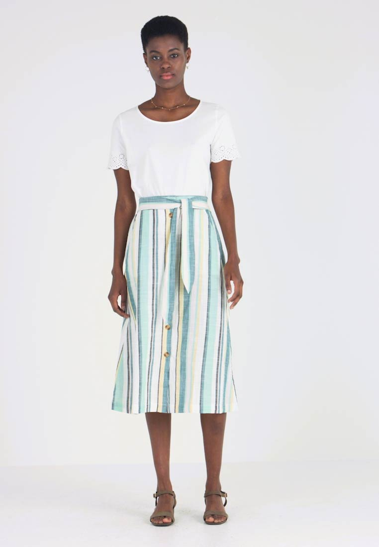TOM TAILOR - SKIRT MIDI STRIPED - A-line skjørt - white - 1