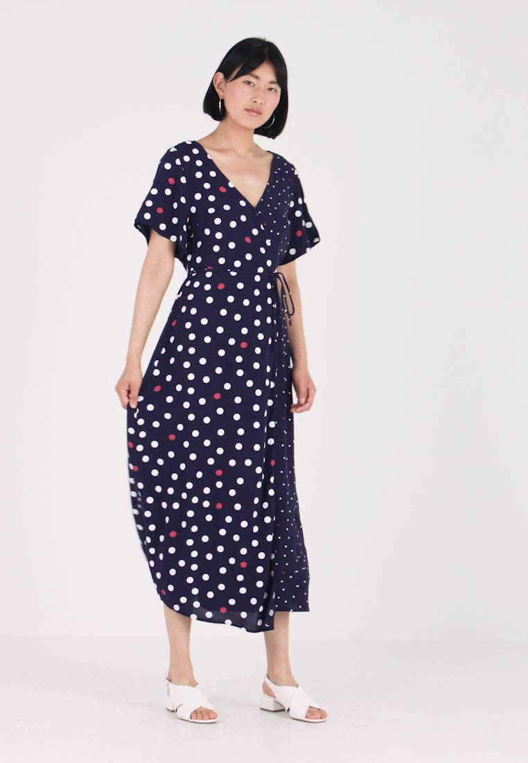 TOM TAILOR DENIM - DOT MIX WRAP DRESS - Vardagsklänning - blue/white - 1
