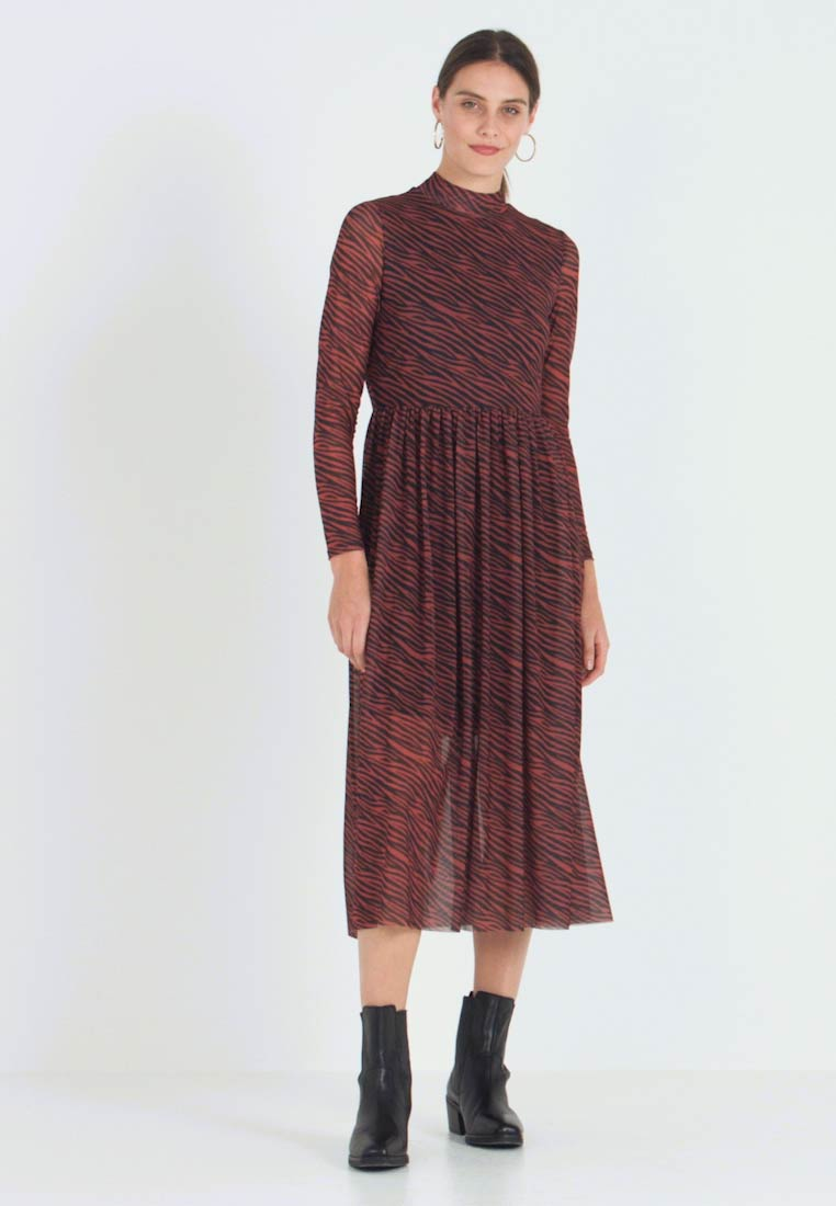 TOM TAILOR DENIM - PRINTED MESH DRESS - Day dress - brown/zebra - 1