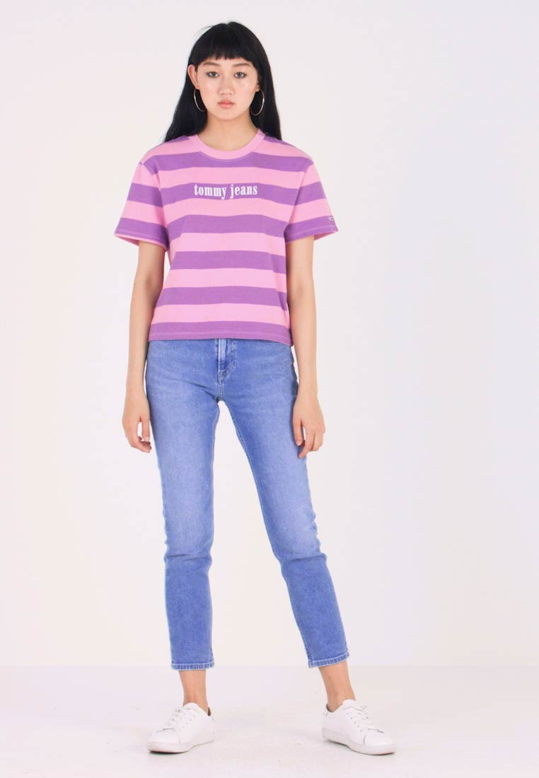 Tommy Jeans - COLOR STRIPE TEE - Camiseta estampada - hyacinth/lilac - 1
