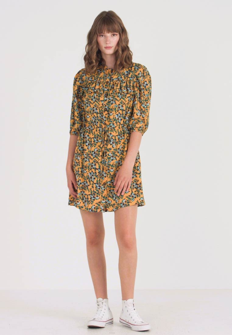 Topshop - FLORAL PLEAT TRIM MINI - Abito a camicia - yellow - 1