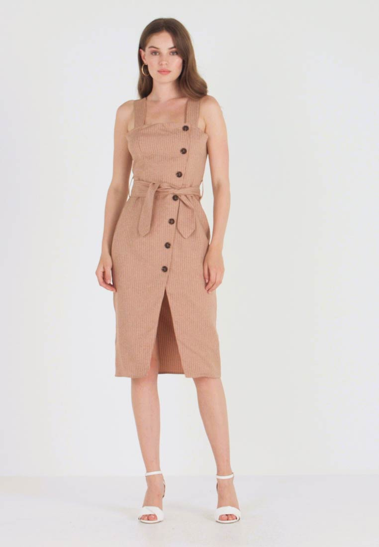 UNIQUE 21 - BUTTON FRONT MIDI DRESS - Abito a camicia - camel - 1