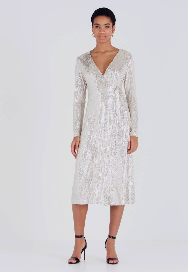 UNIQUE 21 - SEQUIN WRAP DRESS WITH BELT - Cocktailjurk - brushed silver - 1
