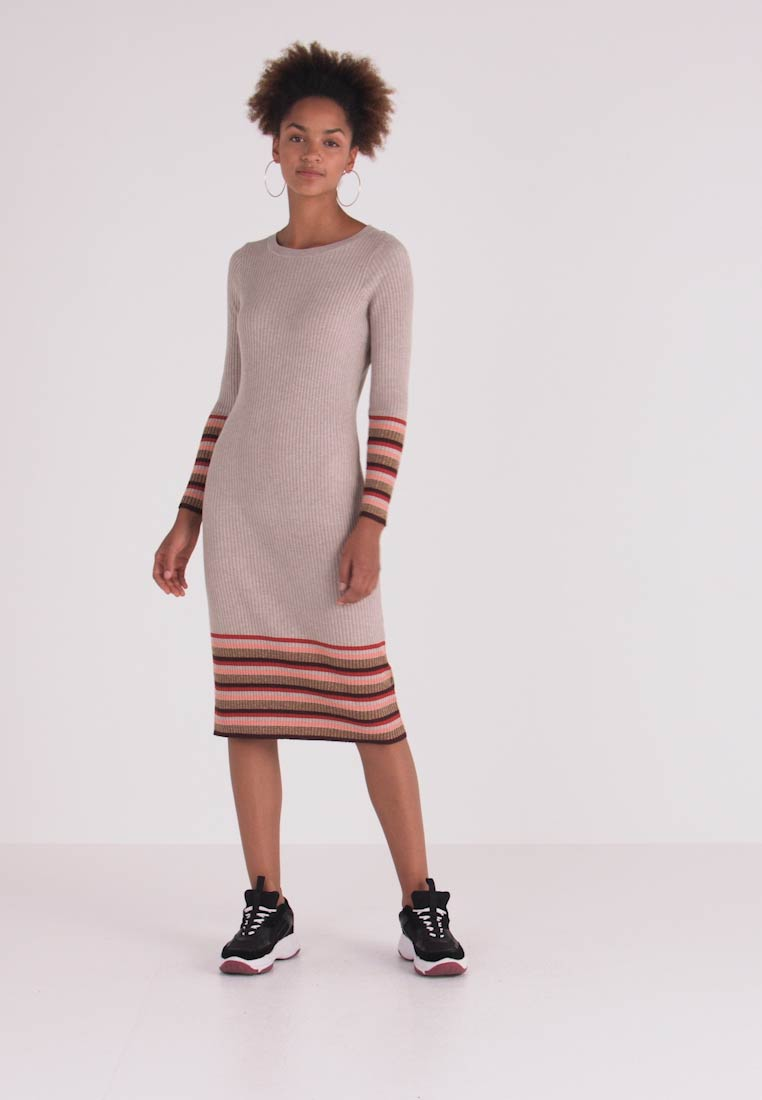 Vila - VIHELENI STRIPE DRESS - Jumper dress - natural melange/toffee - 1