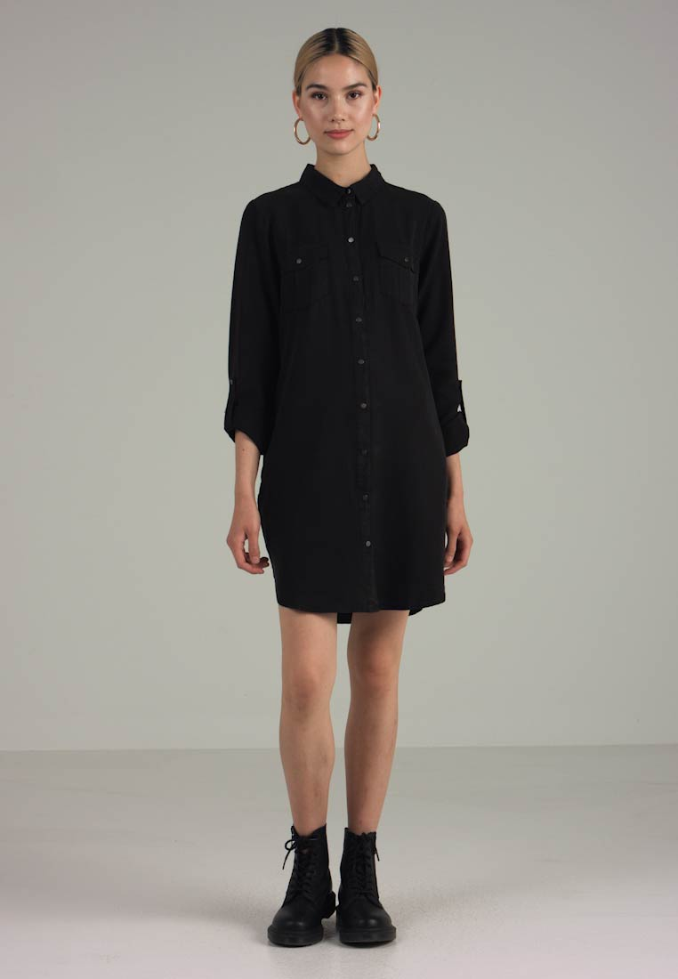 Vero Moda - VMSILLA SHORT DRESS - Shirt dress - black - 1