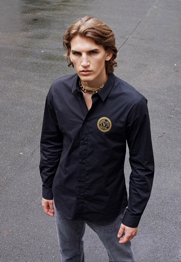 Versace Jeans Couture - POPELINE STRETCH - Shirt - nero - 1