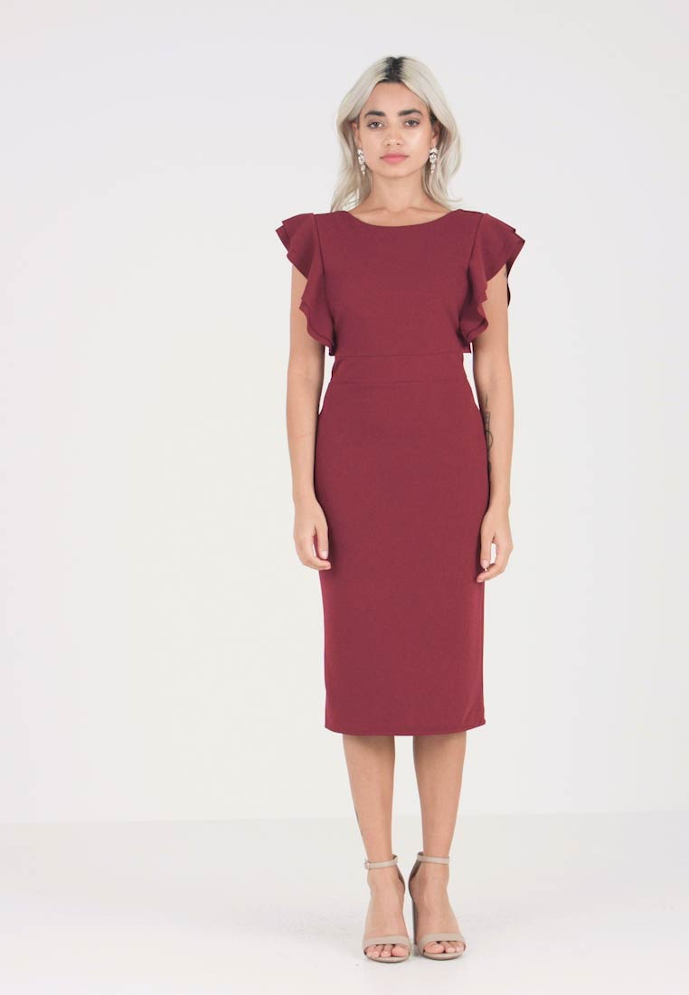 WAL G PETITE - EXCLUSIVE V NECK FRILL SLEEVE MIDI DRESS - Kotelomekko - magenta - 1