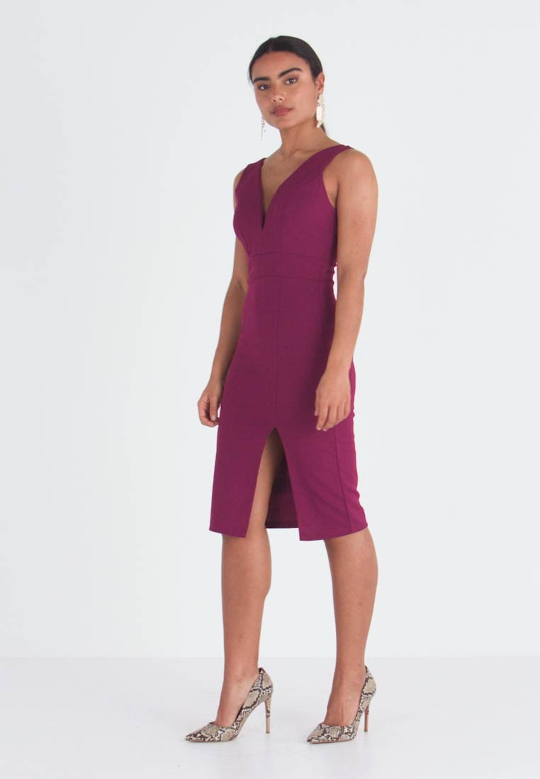 WAL G PETITE - SWEETHEARD NECKLINE SLIT DRESS - Juhlamekko - plum - 1