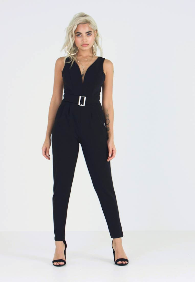WAL G PETITE - EXCLUSIVE BUCKE V NECK - Overal - black - 1