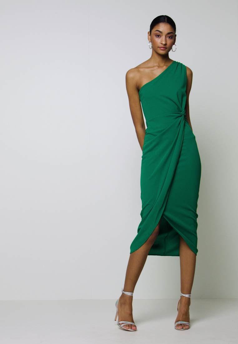 WAL G. - ONE SHOULDER MIDI DRESS WITH KNOT TIE - Etuikjole - green - 1