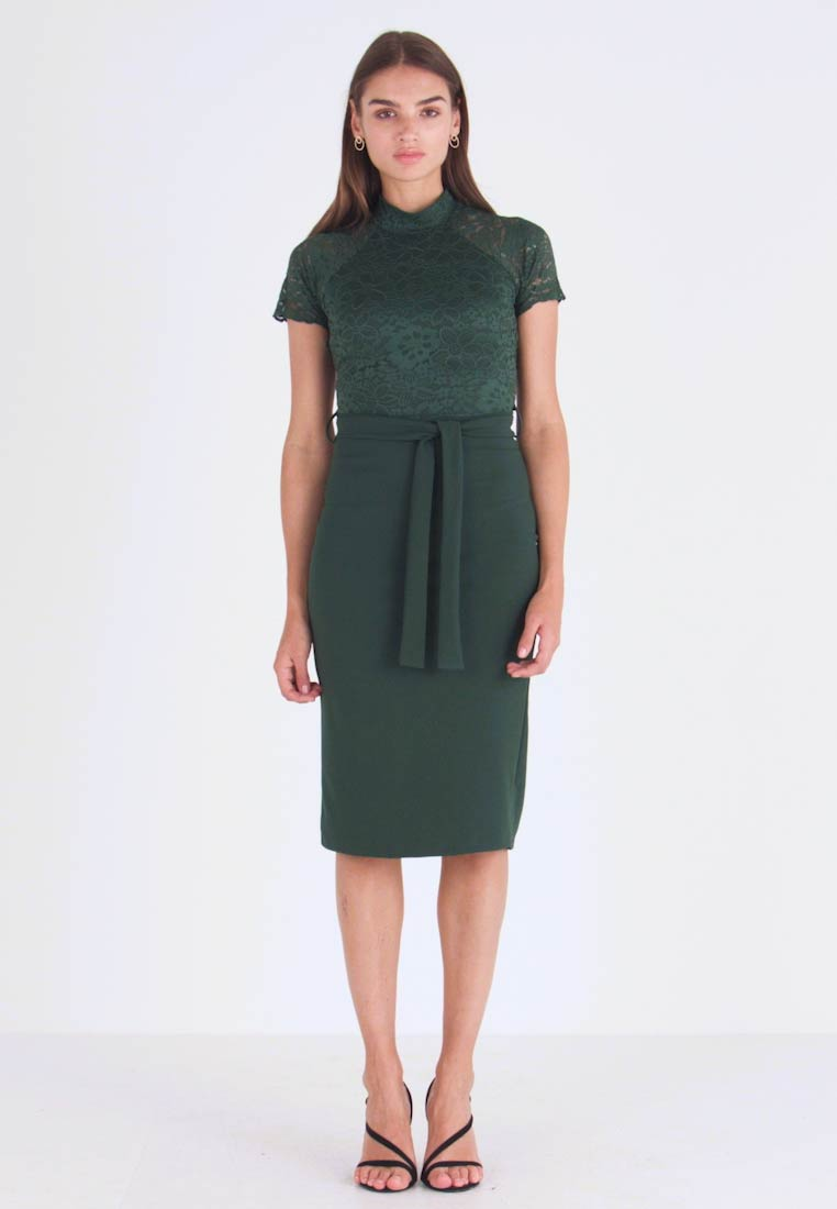 WAL G. - HIGH NECK MIDI DRESS - Cocktailjurk - forest green - 1