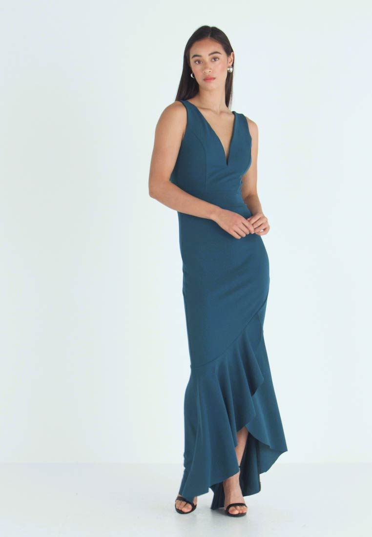 WAL G. - PLUNGE KNECKLINE FRILL FISHTAIL DRESS - Occasion wear - dark teal - 1