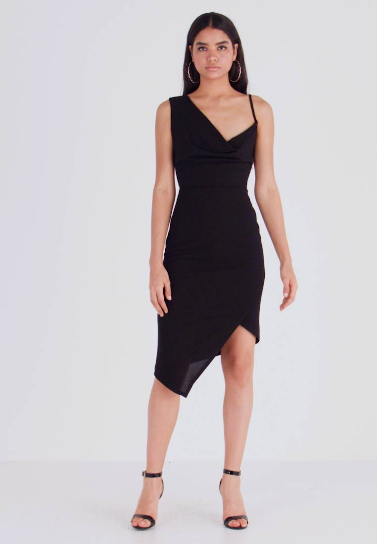 WAL G. - COWL NECK LING ASYMMETRIC MIDI DRESS - Sukienka koktajlowa - black - 1