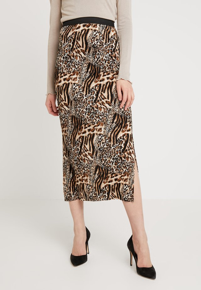 MIX ANIMALPLISSE MIDI SKIRT - Pleated skirt - brown