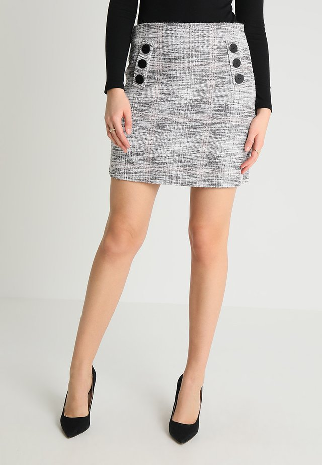 MONO TEXTURED BUTTON FRONT SKIRT - Pencil skirt - black