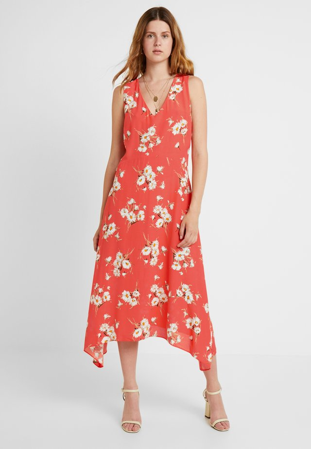 DAISY V NECK HANKY HEM DRESS - Maxikleid - coral