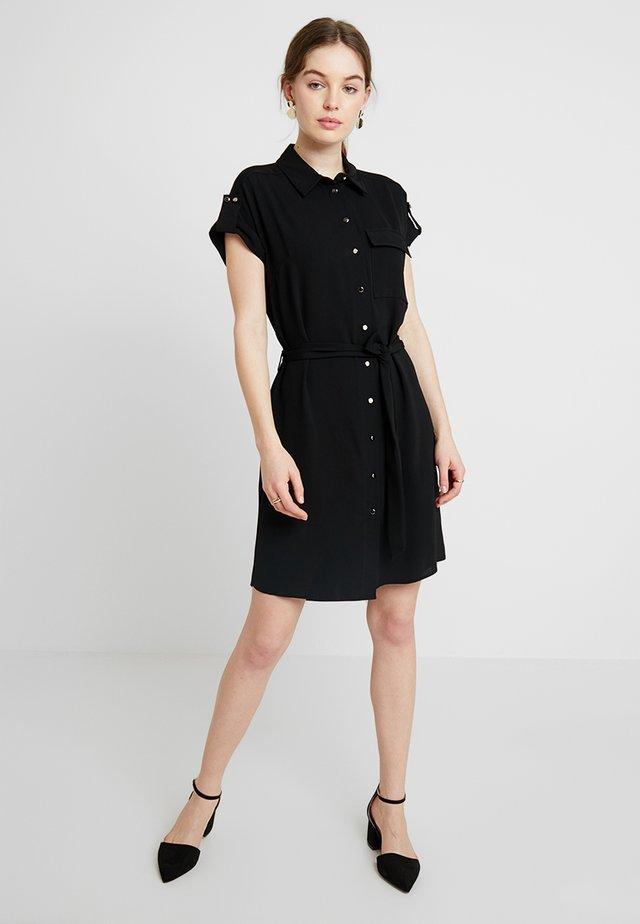 SHORT SLEEVE DRESS - Shirt dress - black